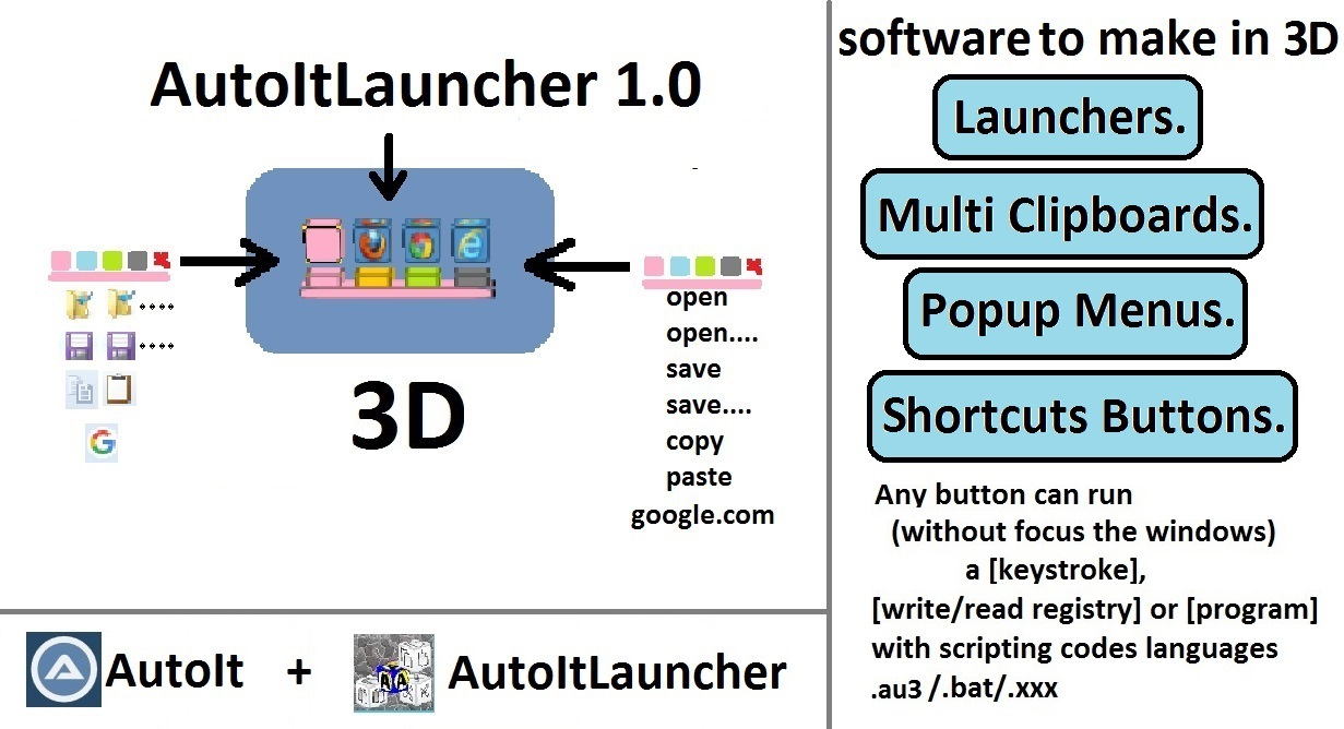 Autoitlauncher - 3d Tool to Build a keyboard shortcuts